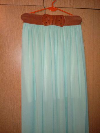 Miętowa maxi spódnica tiul długa M 38