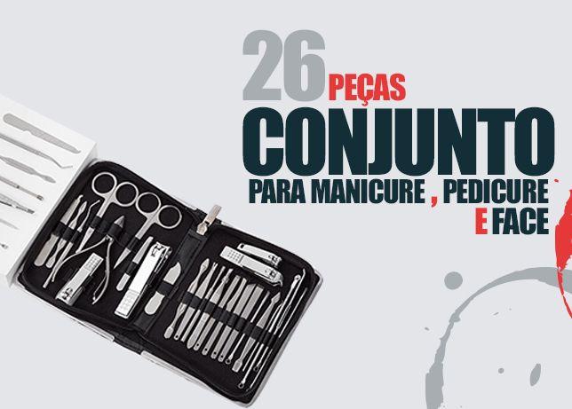 Acessorios para manicure e pedicure de 26 pcs, profissional