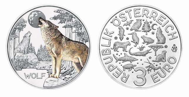 3 € Áustria Colorida Morcego / Tigre / Lobo / Papagaio / Crocodilo