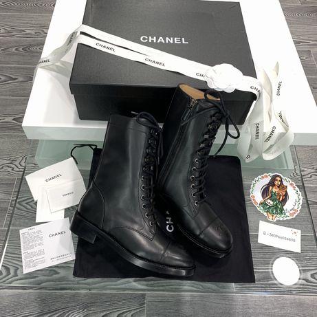 Сапоги ботинки Chanel натуральная кожа
