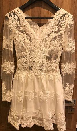 Sukienka biała koronkowa (ślubna) rozmiar 38