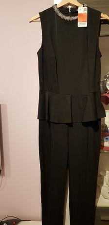 Kombinezon nowy czarny elegancki z baskinką orsay