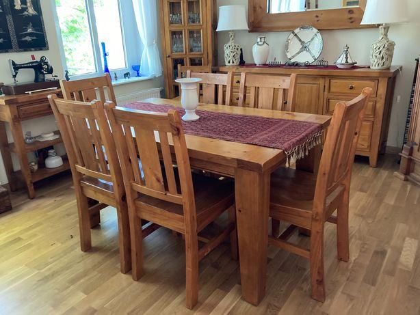 Stol z sześcioma krzesłami drewno egzotyczne