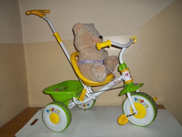Rowerek trójkołowy trzykołowy dla maluszka z PROWADNIKIEM dla rodzica