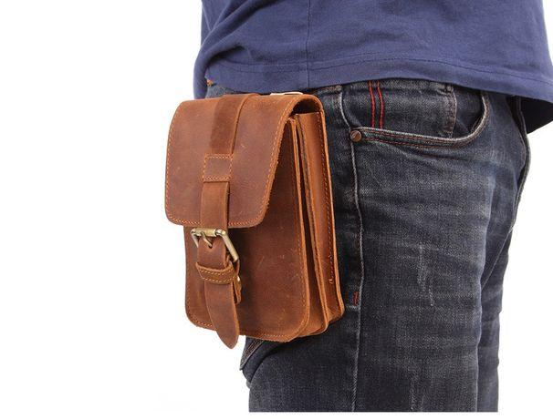 Кожаная сумка-барсетка на ремень. Натуральная кожа. Ручная работа