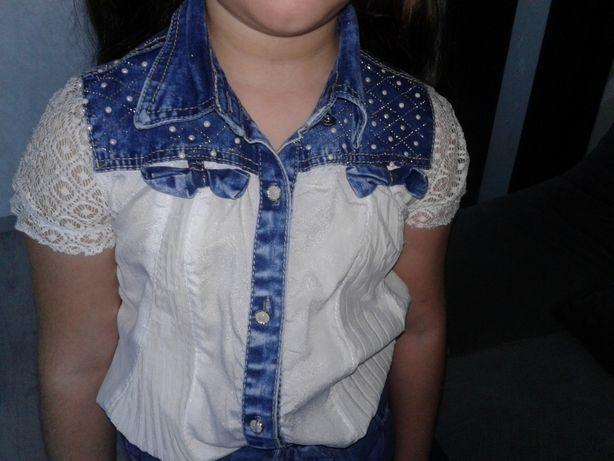 Блуза с джинсовими вставками р.134-140