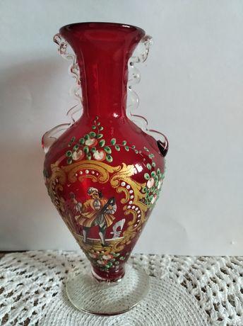 Ваза вазочка красное стекло винтаж