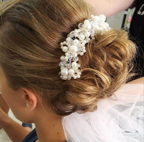 Perłowa ozdoba do włosów - ŚLUBNA fryzura
