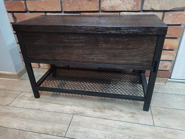 Ławka do przedpokoju, z półkami na obuwie, skrzynia, drewno dębowe