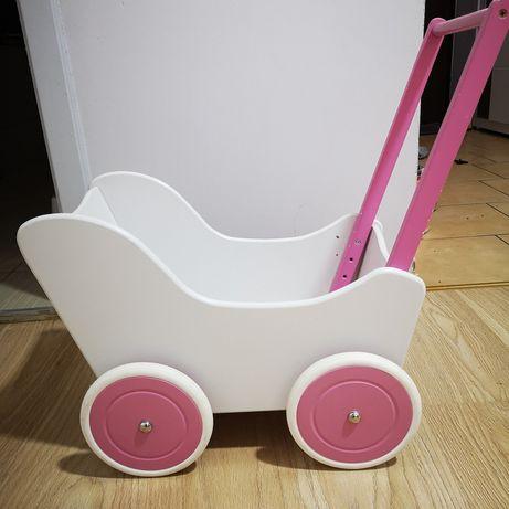 Wózek drewniany dla lalek, pchacz, dla dziecka, dziewczynki
