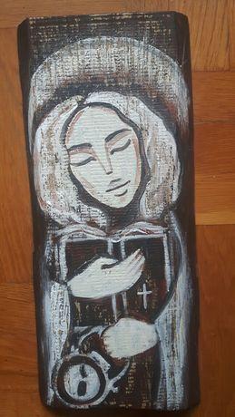 Anioł Tradycji obraz malowany ręcznie na drewnie rękodzieło desce