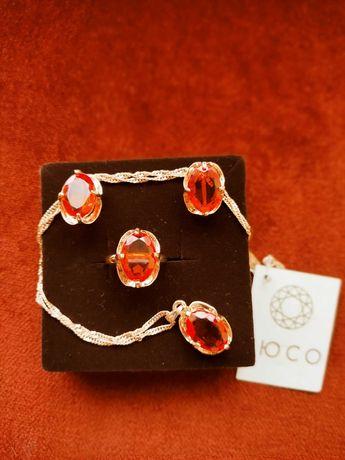 Conjunto brincos e anel de aço inoxidável com BANHO de OURO
