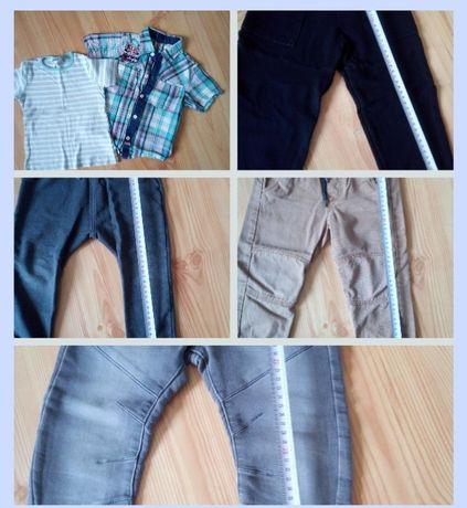 Spodnie jeansowe, dresowe, koszula r. 92-98 cm