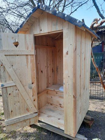 Drewniana toaleta  WC wychodek toaleta na budowę