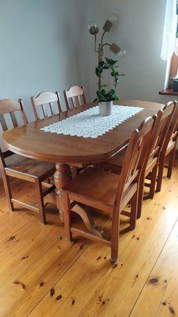 Stół rozkładany bi krzesła drewniane