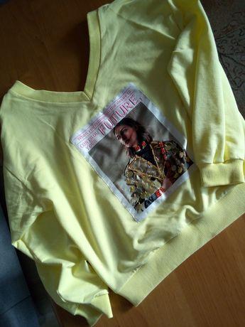 Żółta bluza z dekoltem V