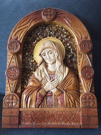 Продам иконы из дерева инкрустированные янтарем