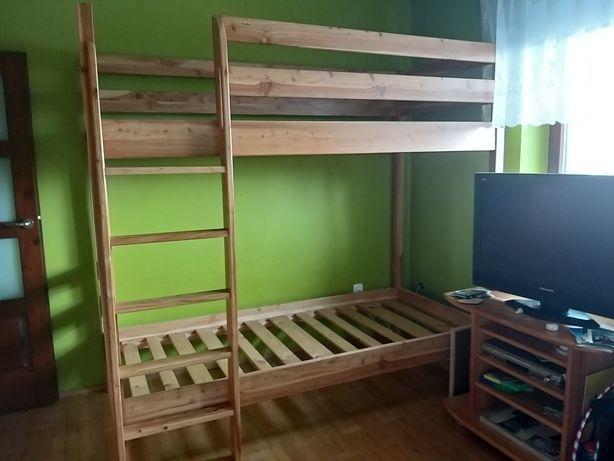 Modrzewiowe łóżko piętrowe