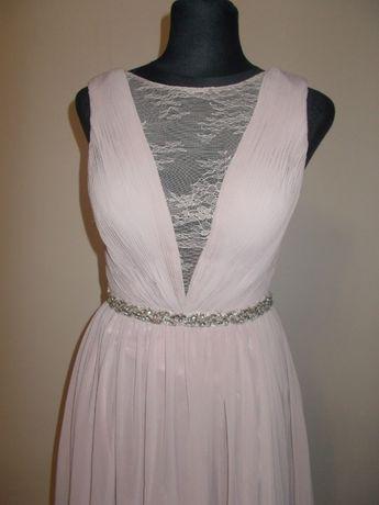Piękna długa suknia sukienka na wesele ślub liliowy róż Wysyłka
