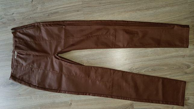 Spodnie woskowane legginsy camel wysoki stan