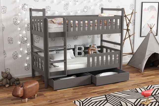 Łóżko dziecięce drewniane grafitowe z materacami