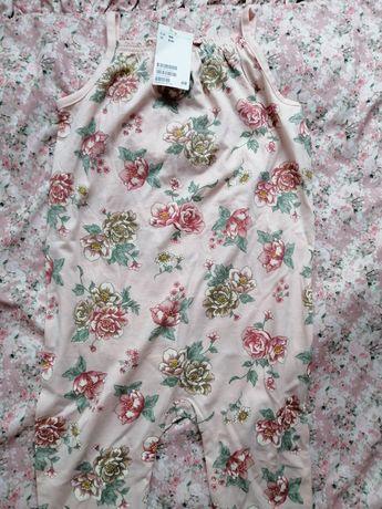 H&M NOWY kombinezon w kwiaty spodnie hm rampers  stylu newbie 104