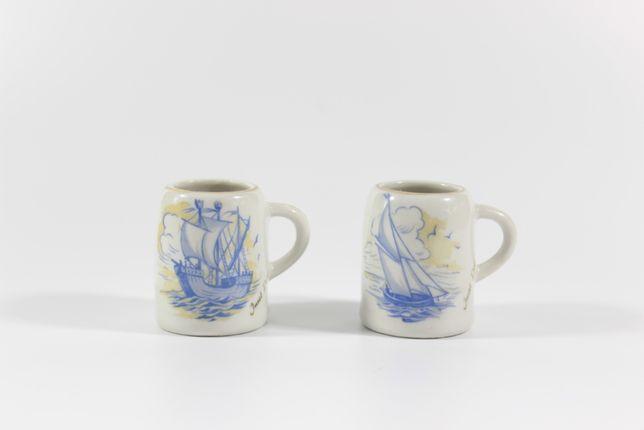 Malutkie porcelanowe kubeczki, stara porcelana, sygnowane, styl marine