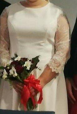 Sukienka ślubna, koronkowe rękawy, przedłużany tył, XL/XXL