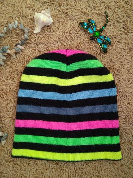 модная шапка бини/шапочка в полоску