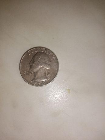 Монета - перевертыш liberty quarter dollar 1970
