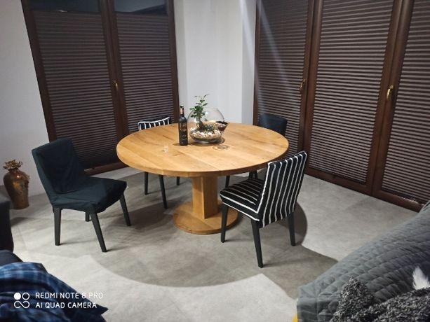 Stół okrągły dębowy z litego drewna