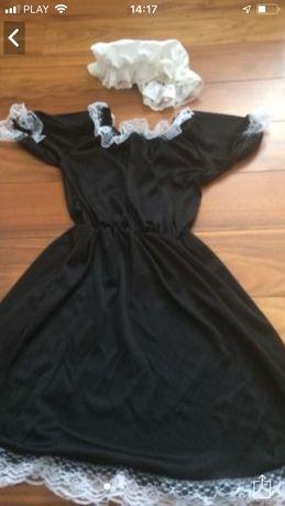 Sukienka przebranie gosposi pokojówki z czepkiem