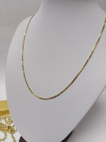 Złoty łańcuszek- kostka próba 585 komunia