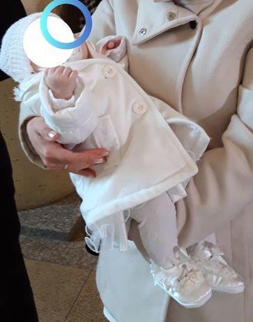 Komplet chrzest WIOSNA+ plaszczyk, sukienka do chrztu rozm.62cm