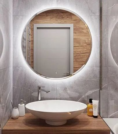 Акция! Зеркало для Ванной парящее с подсветкой круглое 500 мм-995 грн