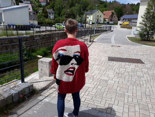 Ręcznie robiony modny sweter Oversize Handmade 100% Natural rękodzieło