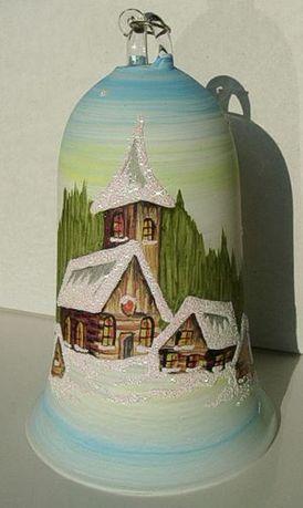 NOWY Dzwonek szklany na choinkę ze szkła 10cm. Dzwoni. Różne kolory