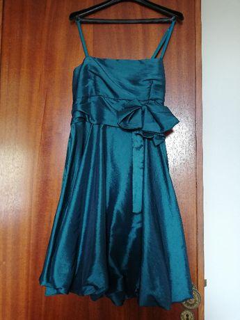 Vestido Azul Acetinado