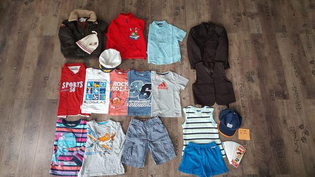 Zestaw, paka dla chłopca 3-4 lata, rozmiar 98-104, 15 szt + 3 czapki