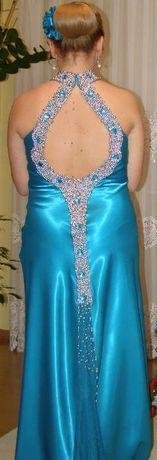 bogato zdobiona turkusowa suknia wieczorowa;wesele;studniówka; M