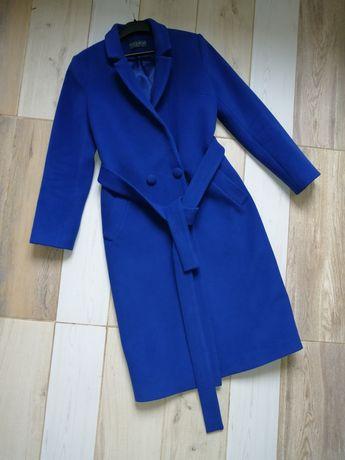Яркое синее демисезонное пальто шерсть размер xs-s zara bershka topsho