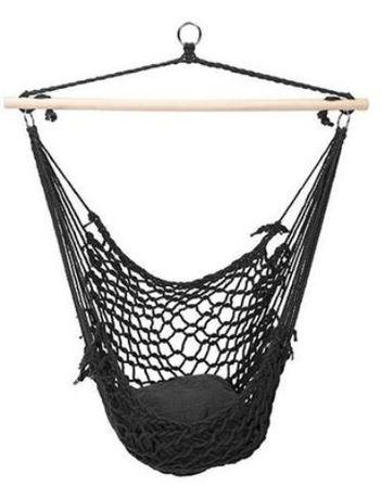 Cadeira de pendurar tipo rede com almofada Castanho