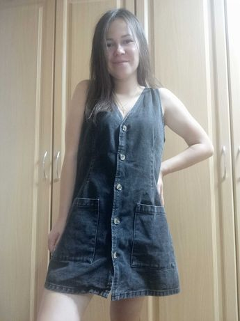 Сарафан черный джинсовый