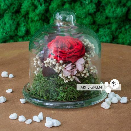Стеклянная колба с розой из Японии