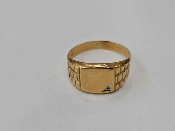 Klasyczny złoty sygnet męski/ 750/ Brylant/ 2.88 gram/ R24