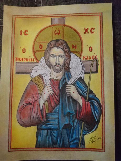Ikona Jezusa Ofiarnego ratujacego zagubioną owieczkę