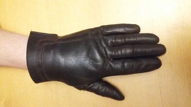 Skórzane brązowe rękawiczki z futrzaną podszewka
