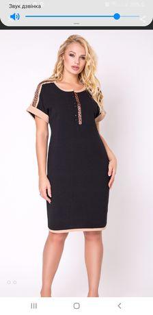 Черное повседневное платье мини Luzana однотонное XL