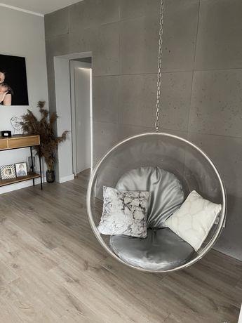 Fotel wiszący kula bubble chair bańka srebrne poduszki przezroczysta