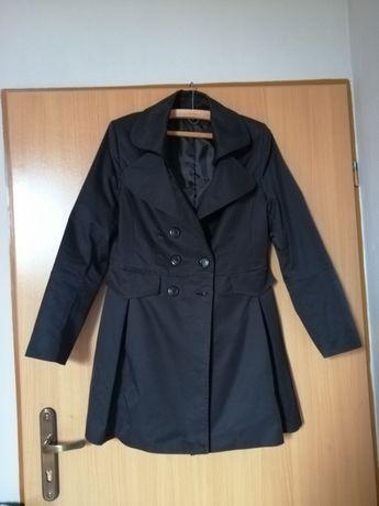 Płaszcz damski czarny na guziki 42